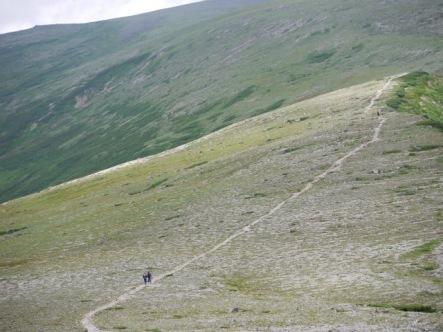 避難小屋分岐に向かう稜線